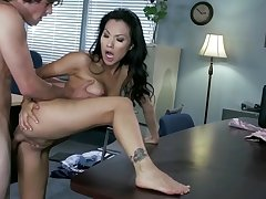 Asian milf gets pumped in crazy ways at the office