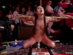 18 Years Old in extreme bondage rides dildo