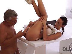 Sweet secretary Liliane caresses boss limitation hard day of work