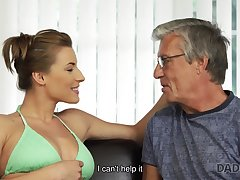 Nice intimacy of oldman and 18yo girl uneaten with cumshot
