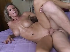 Big breasted lusty housewife Jade feels surprising while topping stiff dick