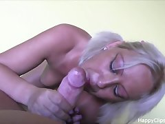 Blonde MILF sucks plus rides dick with a great admiration