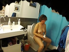 Meaty Hairy Asian Milf Wife Exposed all over Bathroom