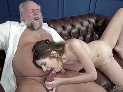 Titless young cookie Candice Demelzza wanna suck old strong cock