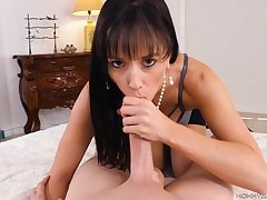 Cocksucking milf tries to deepthroat this big cock