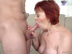 Mature obese redhead Marsha gives such a fitted unforgettable blowjob