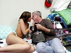 Grey haired pervert watches tricked gal Molly Manson riding fat cock
