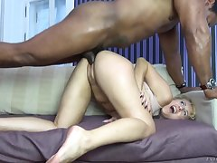 Milf goes flagitious on a thick black dick