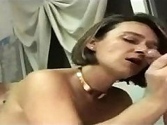French brunette in unexpected stockings threesome