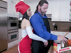 Eccentric slender gal Gianna Gem is ready to be fucked doggy via cooking show