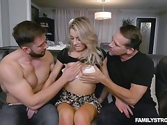 Light haired gal with sexy arse Kate Kennedy enjoys darn great MMF threesome