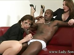 lady sonia - fetish interracial threesome with domina
