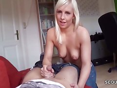 German Step-Sister Caught Relative and help with Handjob