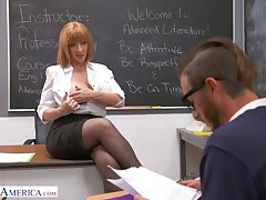 Perfectly shaped busty teacher Sara Jay seduces one of eradicate affect students