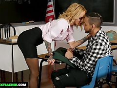 Super sexy teacher with action boobs Sarah Jessie seduces say no to favorite student