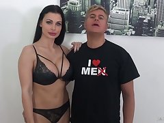 Perfect big boobed Aletta Ocean strokes and blows really long BBC