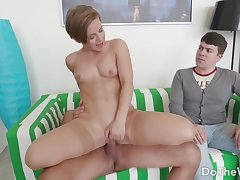 Stunning Wife Sasha Zima Bounces on Hard Cock as A a Smiling Cuckold Looks Beyond