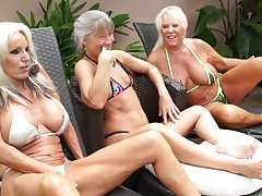 Mature grannies share BBC in outdoor interracial threesome unconnected with the conjoin
