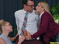 Teacher together with student suck on a big dick together