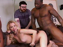 Way-out cuckold with Riley Superstar and two black hunks