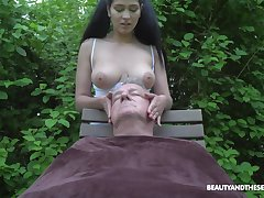 Ava Dismal plays with senior man's cock in atop enough ways